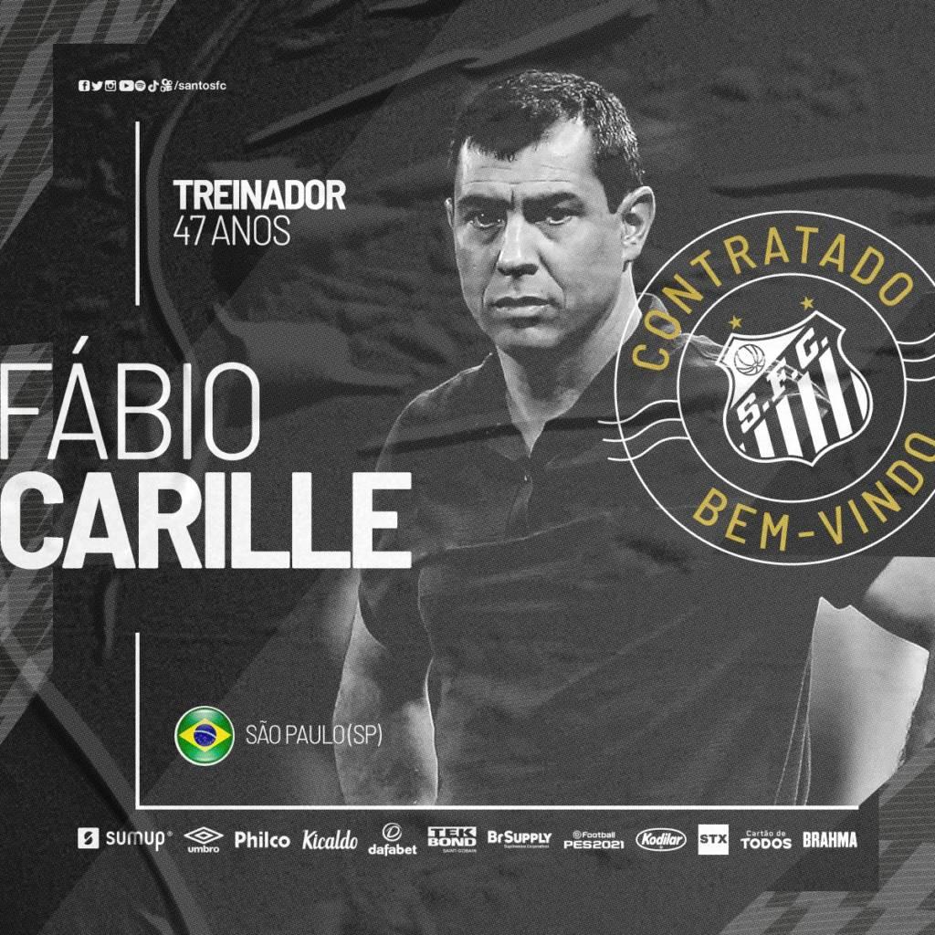 Após demissão de Fernando Diniz, Fábio Carille é o novo técnico do Santos. (Foto: Reprodução/Santos)