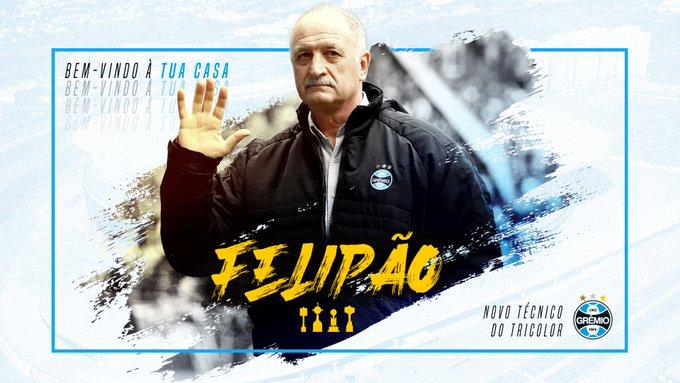 O Grêmio assinou com o técnico Luiz Felipe Scolari, o Felipão, até dezembro de 2022 (Foto: Reprodução/Grêmio)